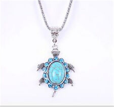 Vintage Jewelry Tibetan Silver Sea turtle Turquoise Women Pendant Necklace !