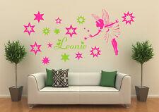 Wandtattoo Kinderzimmer  Elfe Fee Fairy mit Sternen und Wunschname