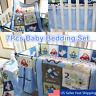 7Pcs Blue Baby Boy Bedding Crib Cot Set Nursery Quilt Bumper Sheet Blanket