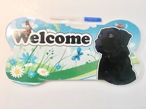 Welcome Black Lab Labrador Retriever Dog Breed Wood Sign Wall Plaque Sign
