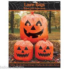 3 Haunted Halloween Smiling Orange Pumpkins Lawn Bags Garden Decorations