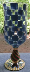 Mackenzie Childs Circus Goblet BAM Check Mates Blue Water Goblet New w Label
