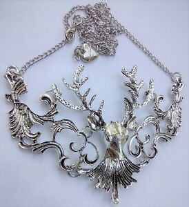 """Beautiful Ornate Betsey Johnson Silver Tone Deer w/Antlers 20"""" Necklace"""