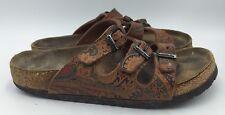 Birkenstock Three Strap Paisley Print Leather Sandals Women Sz 36 US 5