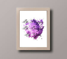 INSPIRATIONAL MOTIVATIONAL PURPLE WATERCOLOUR HAPPY PRINT A4 POSTER GIFT