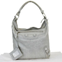 Authentic BALENCIAGA GIANT Cover The Day Shoulder Bag Leather Gray Italy 30BP218