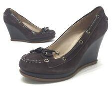 Sperry Top Sider Womens Brown Suede Slip On Wedge Heels Size 7M