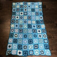 "Crocheted Granny Square Afghan Lap Blanket Sofa/Bed Throw Handmade 58.5"" X 34"""