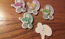 Job Lot 25 Wooden Cartoon Baby Carriage Pram Buttons 28mm Different Colours