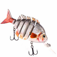 "3.9"" Multi Jointed Fishing Lure Bait Bass Crank Minnow Swimbait Life Like Pike"