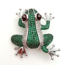 Clear and Green Frog Pin Pendant in White Gold Plated
