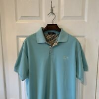 Mens BURBERRY LONDON Polo Shirt Top Size Large L Blue