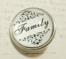 Family Quote Damask Glass Pop It Snap In Noosa Style Metal Button Chunk Charm