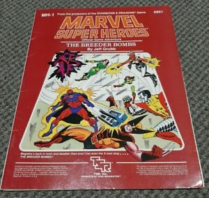 The Breeder Bombs - Marvel Super Heroes - Role Playing Game TSR MH-1 6851 w/ Map