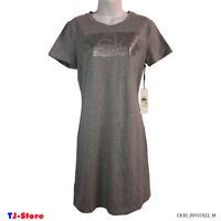 Women's Casual T-Shirt Dress Calvin Klein Short Sleeve Gray Logo Front Size M