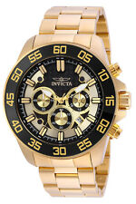 Invicta 24726 Pro Diver Mens Quartz 48mm Gold Case Black Dial