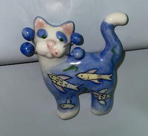 2004 AMY LACOMBE JEWELRY CAT ceramic clay brooch pin WHIMSICLAY FELINE retired!