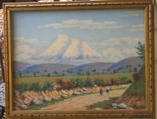 Ecuador Oil-1930's-People On Road At Mt Chimborazo-By Moncayo-Beautiful Quality