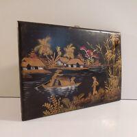 Peinture laquée bois paysage fait main original signé Asie Vietnam France N2997