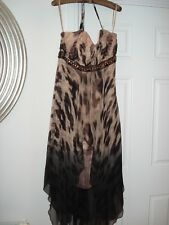 MONSOON Animal Print Floaty Halterneck Party/Evening Dress*Size 14*Midi Length