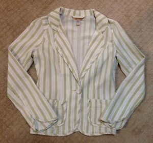 Women's Free People Ivory and Green Striped Blazer-Size 4