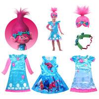 Trolls Poppy Fancy Dress Cosplay Costume Wig Kid Girls Princess Dress Outfit Set