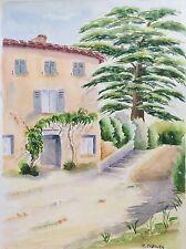 Grande aquarelle Provence Marseille le Cèdre au château signée M. Cobourg