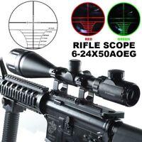 6-24x50 AOE Red Green Mil-Dot Illuminated Optics Hunting Rifle Scope W/Rings