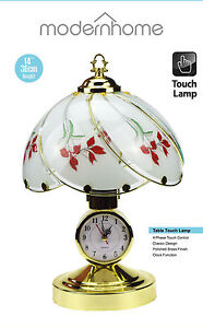 """DESK TOP 14"""" BEDROOM OFFICE POLISHED BRASS TABLE TOUCH LAMP LIGHT WITH CLOCK"""