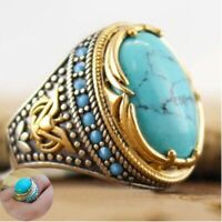 Men Size Ring 925 Women Jewelry Vintage Wholesale Handmade Turquoise 6-12 Silver