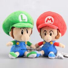 "2Pcs 6"" Super Mario Bros Run Baby Mario & Luigi Plush Toy Stuffed Animal Doll"
