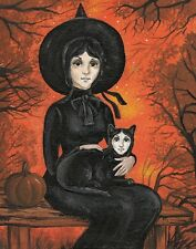 5x7 PRINT OF PAINTING HALLOWEEN BLACK CAT RYTA VINTAGE STYLE WITCH JOL FOLK ART