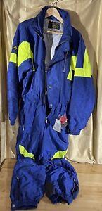 Vtg 80s-90's Descente Blue One Piece Ski Suit Coveralls  Men's sz Large