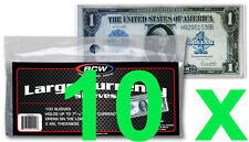 10 pcs US Currency Paper Money Holders Bill Protector Sleeves Large Bills BCW