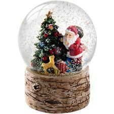 Santa and Christmas Tree with Birch Base Snow Globe , Multi-Colour, 13cm
