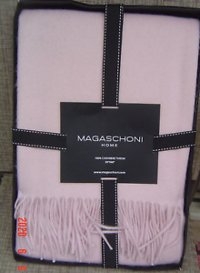 NEW MAGASCHONI PINK 100% CASHMERE BLANKET TROW $356