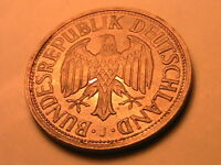 1960-J GERMANY 1 Mark Ch AU Lustrous Original Toning One Mark West German Coin