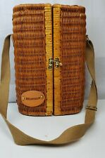 Picnic Time Wicker Wine Basket Carrier Microsoft Brand in Leather!