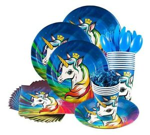 ULTIMATE Unicorn Party Supply Pack Decorations Tablecloth Plates Cups Napkins