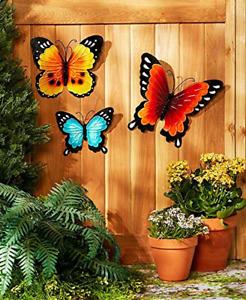 Wall Art Indoor / Outdoor Metal Wall Decor Butterfly, Set of 3