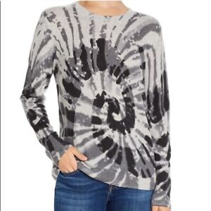 C Bloomingdale's Cashmere Sweater Spiral Tie-dye Size XS Gray Pullover