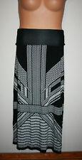 NEW Womens MAX STUDIO Boho Deco Black & White Fold Over Long Maxi Skirt NWT $68