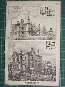 1877 Datierter Architektonisch Aufdruck ~ Stoodleigh Devon ~ Villa Residence