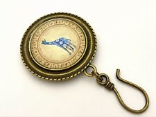 Handmade Portuguese Knitting Pin- Magnetic ID Badge Holder- Patterned Giraffe