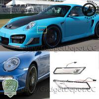 Pair Clear Side Marker Lights Bumper Lamps For 2005-2012 Porsche 911 / 987 / 997