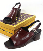 Vtg LIFE STRIDE Wine Red Sandals in Box Ace High Bur Kid 8M Burgundy Open Toes