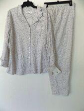 Eileen West Ruffled Cotton Knit Berry Long Sleeve Pajamas Pajama Set XL NWT