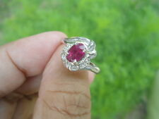 Natural Pink TOURMALINE & White CZ 925 STERLING SILVER RING Size 6.5