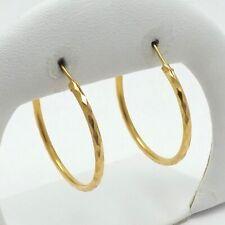 """22K Gold Diamond Cut 1.25"""" Round Sleeper Endless Hoop Earrings 4.4gr"""