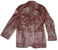 Vtg Christian Dior Paris Men Dark Red Leather Two Button Lined Jacket Argentina